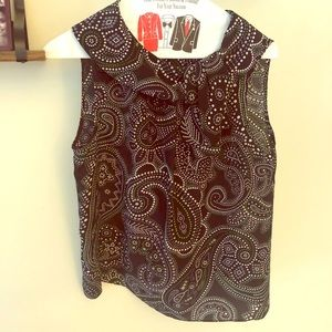 Talbots Paisley Silk Tie neck Sleeveless Top